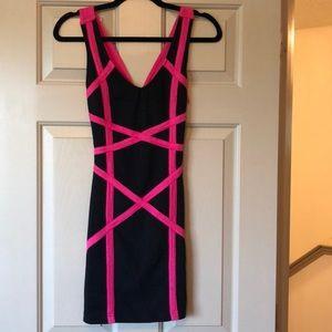A'GACI Black & Pink Mini Dress